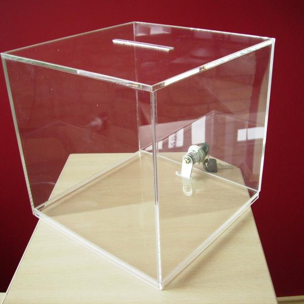 Ящик для пожертвований,акрил,прозрачный 200x200x200mm